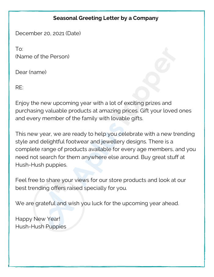 Seasonal Greeting Letter by a Company
