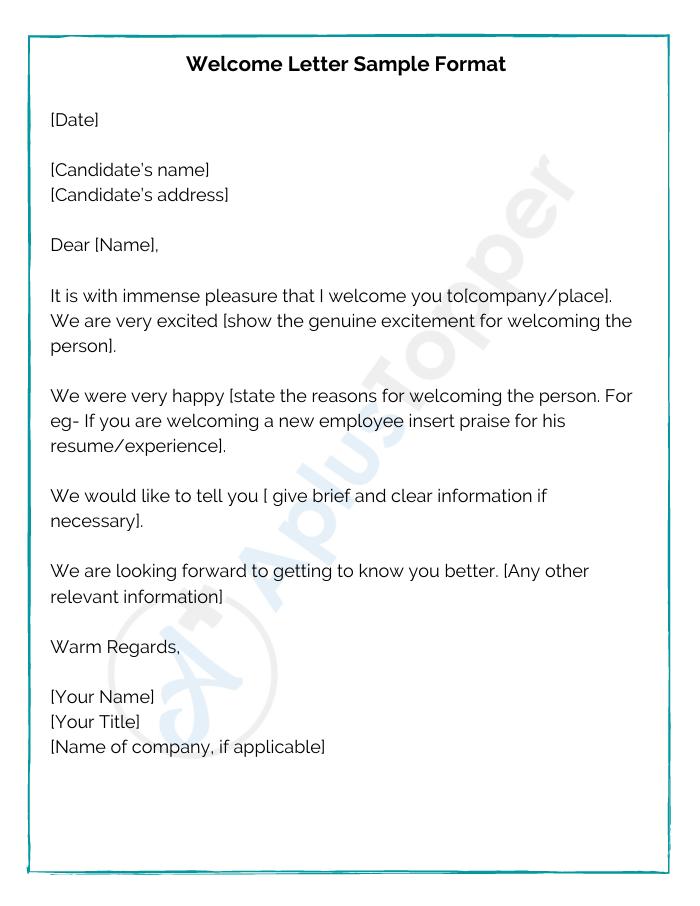 9 Welcome Letter Samples Format